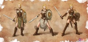 Warrior Girl - Character Design by P-JoArt