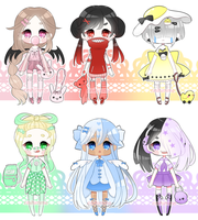 open 2/6 | pastel rainbow adopts (OTA) by rinihimme
