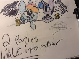 2 Ponies Walk Into a Bar..... by Cheesy-Candeh
