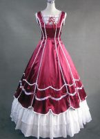 Red and White Victorian Ball Gown by jdoris009