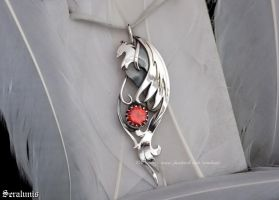 'Phoenix Flame', handmade sterling silver pendant by seralune