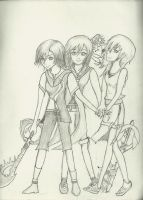 Xion, Kairi and Namine by SoulsCore