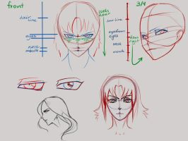 Female face studies by Hotarubi-Kyoshi