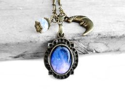 Blue and Purple Cosmic Galaxy Necklace by crystaland