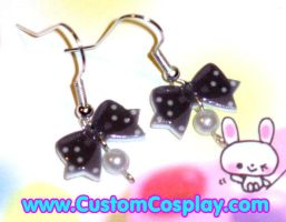Black polka dot bow ear rings by The-Cute-Storm