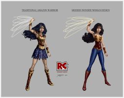 Wonder Woman design comparison by RC-draws