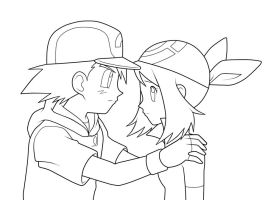 Ash and May. :Lineart: by moxie2D