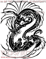 Yin-Yang Tribal Dragons by WildSpiritWolf