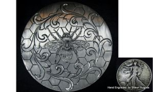 Hand Engraved Ornate Beehive Coin by Shaun Hughes by shaun750