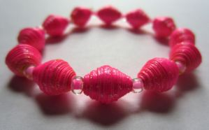 Fluorescent Sparkly Pink Paper Bead Bracelet by Fallingfreely