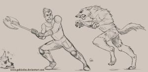 Request: Axel fighting Werewolves by Gabizolas