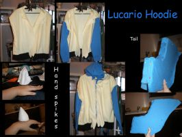 Lucario Hoodie WIP pictures by Gijinkacosplay