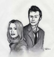 The Tenth Doctor and Rose by RobtheDoodler