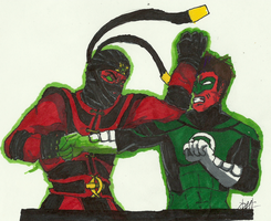 Ermac vs Green Latern by GrimmRiddle