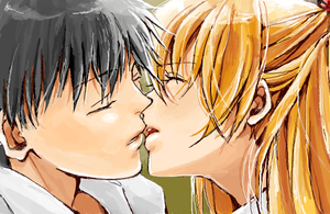 The distance between their lips. by sabo-p