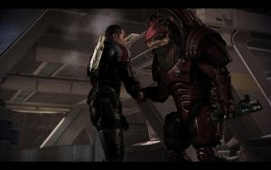 Wrex and Shepard by donabruja