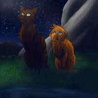 Thunder and Angelpaw by RiverSpirit456