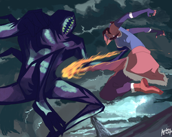 Korra Vs Spirit by ayubee