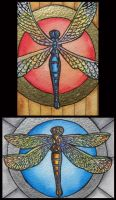 ATCs: Dragonflies by Athalour
