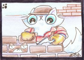 Funny cat is a brick layer ACEO by KingZoidLord