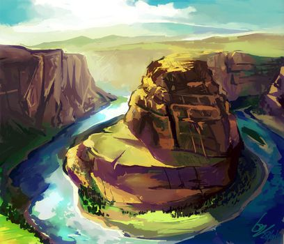 photopaint exercise : Horseshoe Bend by Lazcht