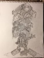 The Many Faces of Michaelangelo - Pencils by J-Dubi