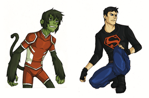 YJ Beast Boy and Superboy (rough) by buddyblack