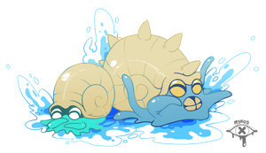 Omanyte and Omastar by Fettergeist