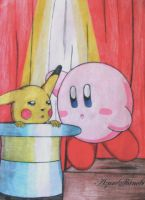 Magic Kirby and Pikachu by AzureShinobi