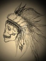 Traditional Native Skull by kteaal
