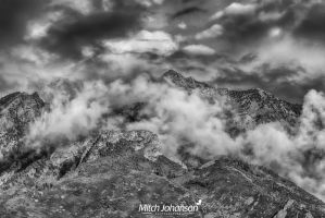 Clouds Around Twin Peaks BW by mjohanson