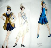 1920s Dress Designs Blue by KristynJanelle