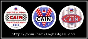 Herman Cain Political Buttons by Conservatoons