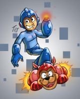 Megaman and Rush by hooksnfangs