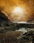 Rocky Beach and Sunset background FGM by FairieGoodMother
