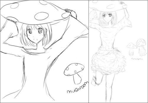Before and After Mushroom Girl by lilblackbunny
