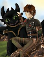 Hiccup and Toothless by midori-mokuzai