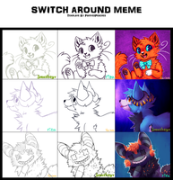 Switch Around Meme With Rizusaur And Smushey by RainSoda