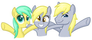 Raindrops, Derpy Hooves, and Hugh Jelly by TheCheeseburger