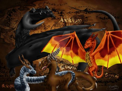 The 4 Great Dragons of Middle Earth by LadyOakenshield157