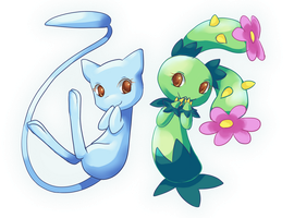 Mew and Maractus by nanidani