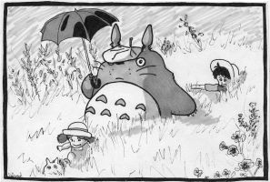 Totoro in a meadow by Skaellj