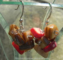 Brown and Red Earrings by MuffinSquee