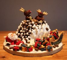 Naughty Reindeer Christmas Cake by KatesKakes