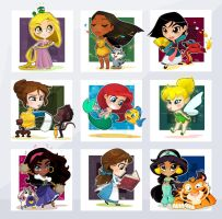 Chibi Disney Girls by Malycia