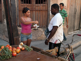 Woman Selling Produce in Santiago de Cuba, Jan by vanfoto