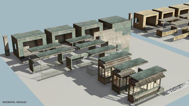 Commercial district construction kit assets layout by PixelMonger75