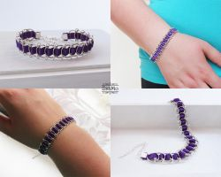 Chainmaille and purple ribbon bracelet by Zsamo