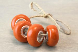 Burnt Orange Pandora Style Polymer Clay Beads by OneUrbanTribe
