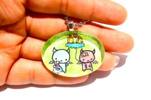Hand Drawn Slime and Boo Love Pendant by PinkChocolate14